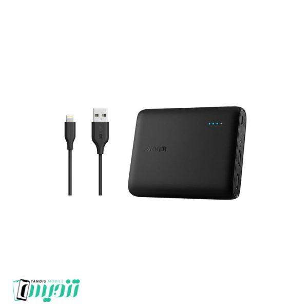 شارژر همراه انکر مدل A1214 PowerCore ظرفیت 10400 میلی آمپر ساعت به همراه کابل تبدیل USB به لایتنینگ انکر مدل A8111 PowerLine به طول 90 سانتی متر